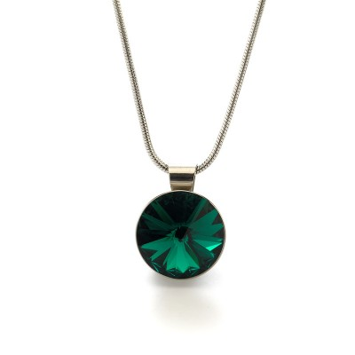 Swarovski Elements Neclace medal 05 Emerald
