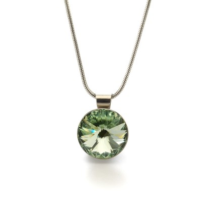 Swarovski Elements Neclace medal 07 Chrysolite